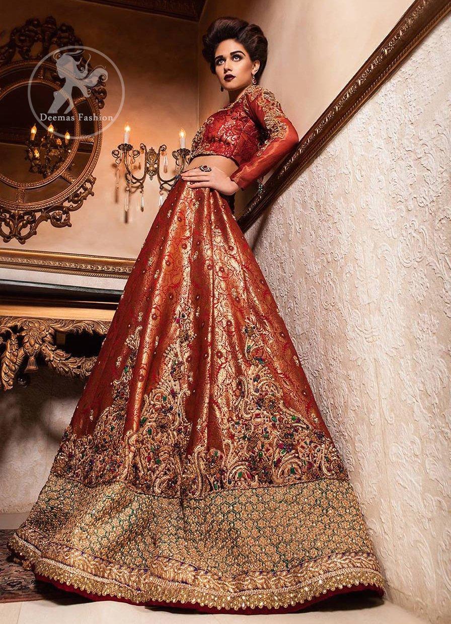 Orange Red Banarsi Bridal Lehenga - Choli