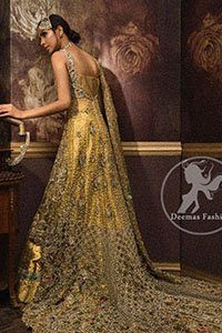 Designer Dress 2017 - Golden Front Open Back Trail Gown - Bridal Lehenga