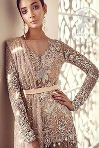 Pale Peach Party Wear Dress - Embroidered Short Shirt - Flared Lehenga
