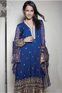 Royal-Blue-Embroidered-Frock-Churidar-Block-Printed-Dupatta (2)