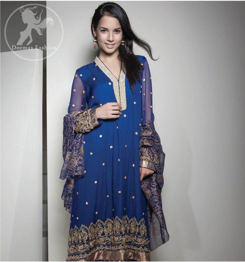 Royal Blue Embroidered Frock - Churidar - Printed Dupatta