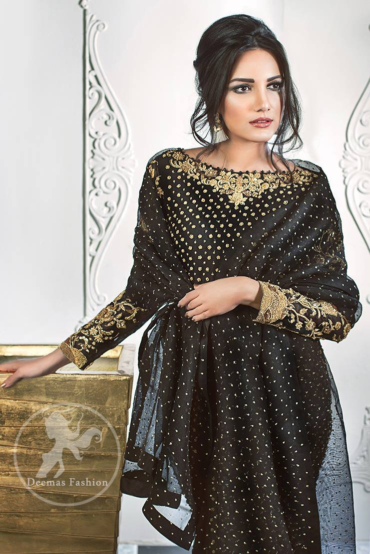 Stylish Black Party Wear Short Shirt - Palazzo Pants - Jamawar Dupatta
