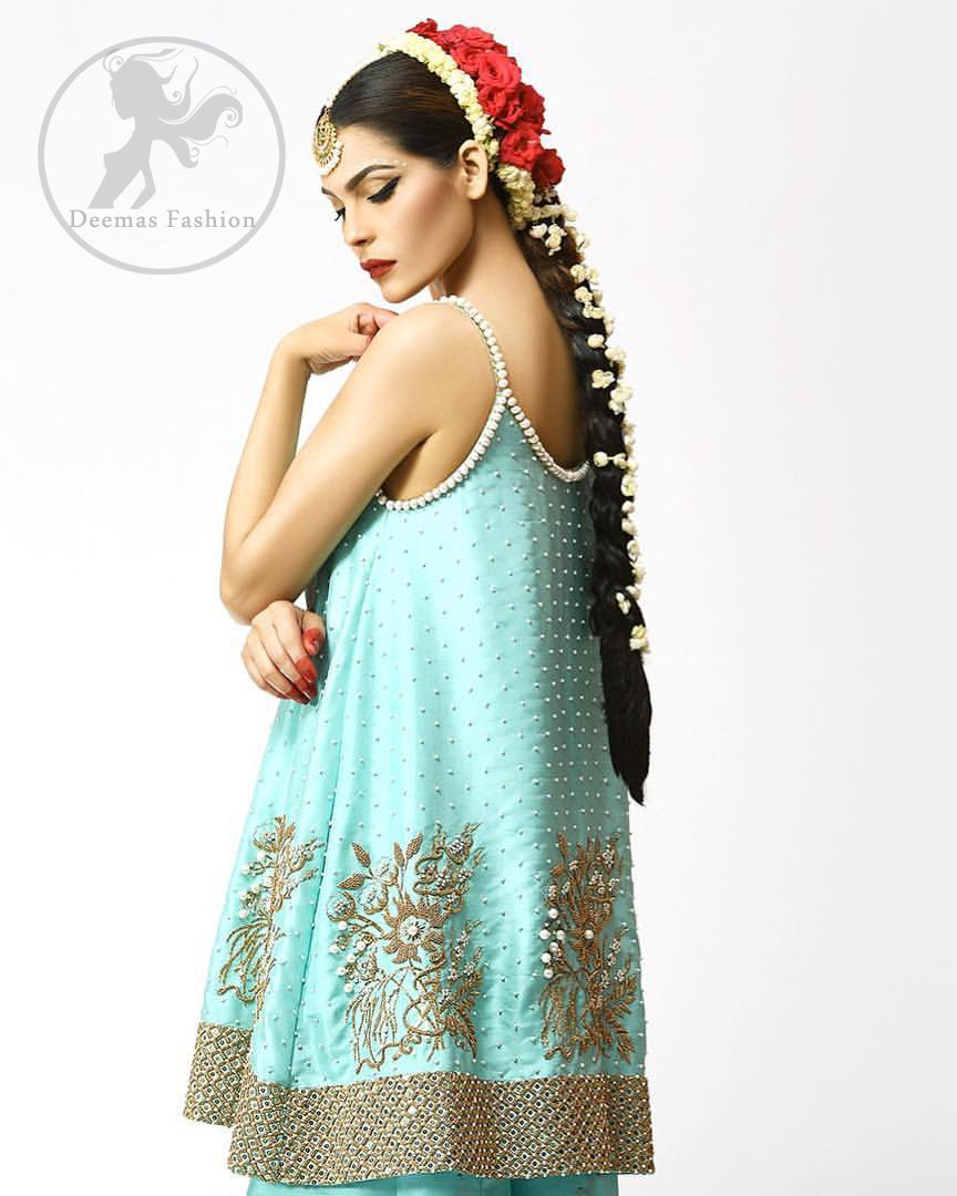 Turquoise Designer Wear Short Frock - Cigarette Pants