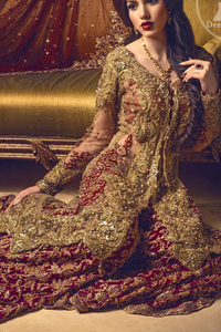 Bridal-Sharara-2017-Light-Fawn-Front-Open-Gown-Deep -Red-Embroidered-Sharara