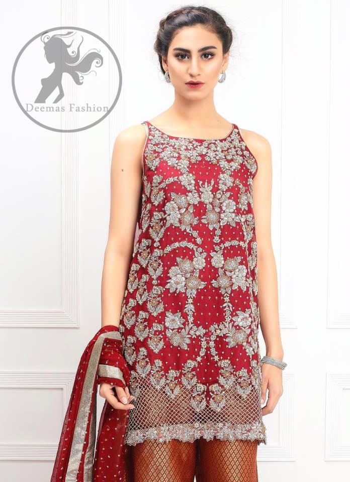 Bridemaid Dresses - Deep Red Embroidered Short Shirt - Rust Jamawar Palazzo