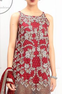 Bridemaids Dresses - Deep Red Embroidered Short Shirt - Rust Jamawar Palazzo