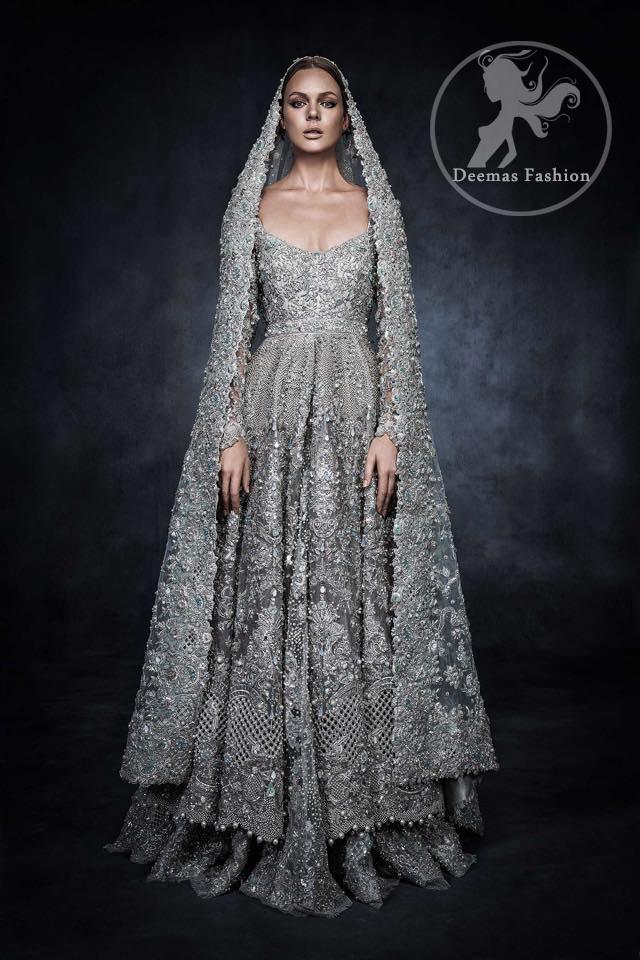 Gray Bridal Wear Dress - Anarkali Bridal Frock - Embroidered Lehenga