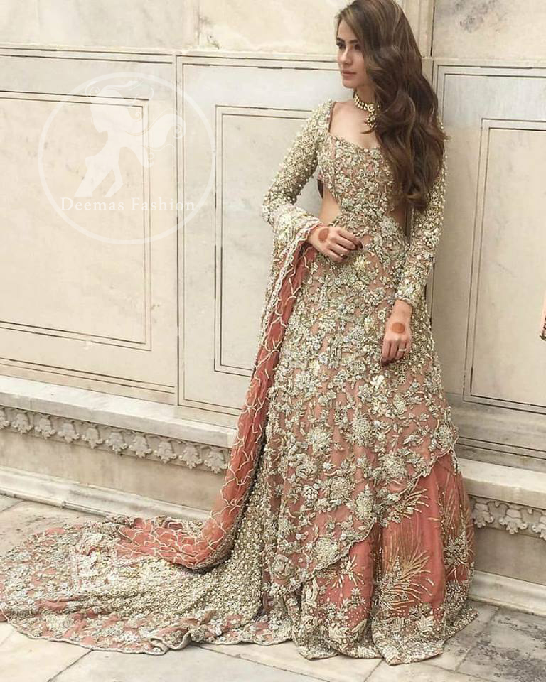 Pakistani Bridal Dress 2018 Peach Back Trail Maxi Embroidered Lehenga,Wedding Attractive Beautiful Night Dresses