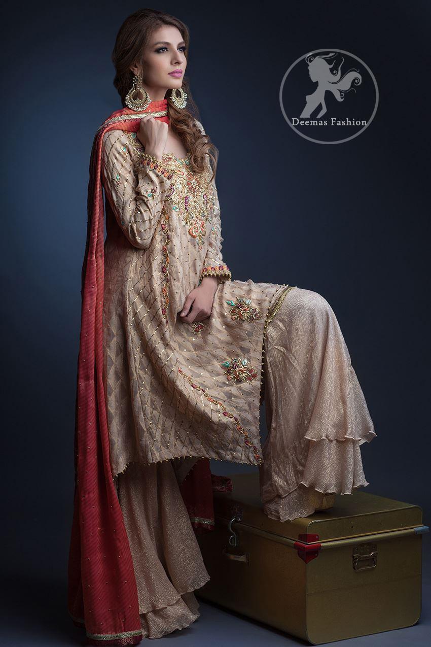 Semi Formal Dresses 2017 - Light Fawn Aline Shirt - Palazzo Pants