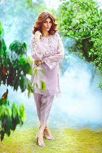 Casual Dress 2017 – Light Purple Short Shirt – Tulip Shalwar