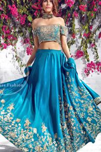 Ferozi Bridal Wear Lehenga Choli - Embroidered Dupatta