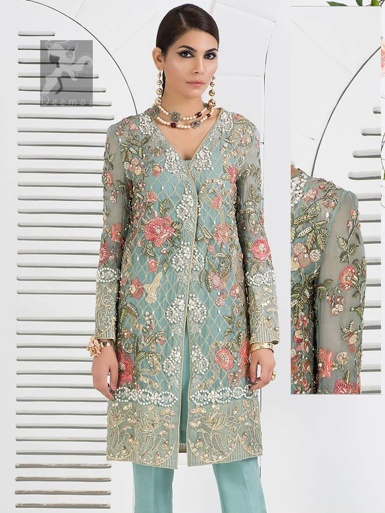 Cascade embroidered chiffon without slits shirt adorned with colorful embellishment. Shirt comes with Opal raw silk trousers and pure crinkle chiffon dupatta.