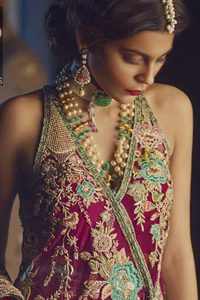Claret Peplum - Bottle Green Trousers - Bridal Dupatta