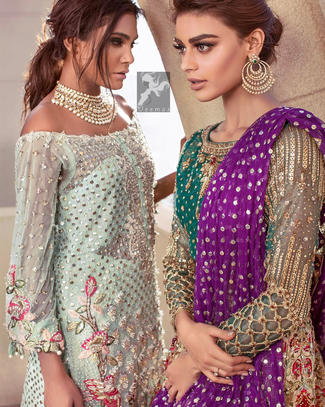 Sweetheart neckline pure crinkle chiffon shirt adorned with embellishment. Embellishment includes majorly light golden, silver, shocking pink and mehndi green shades. Shirt comes with embroidered sharara and net dupatta.