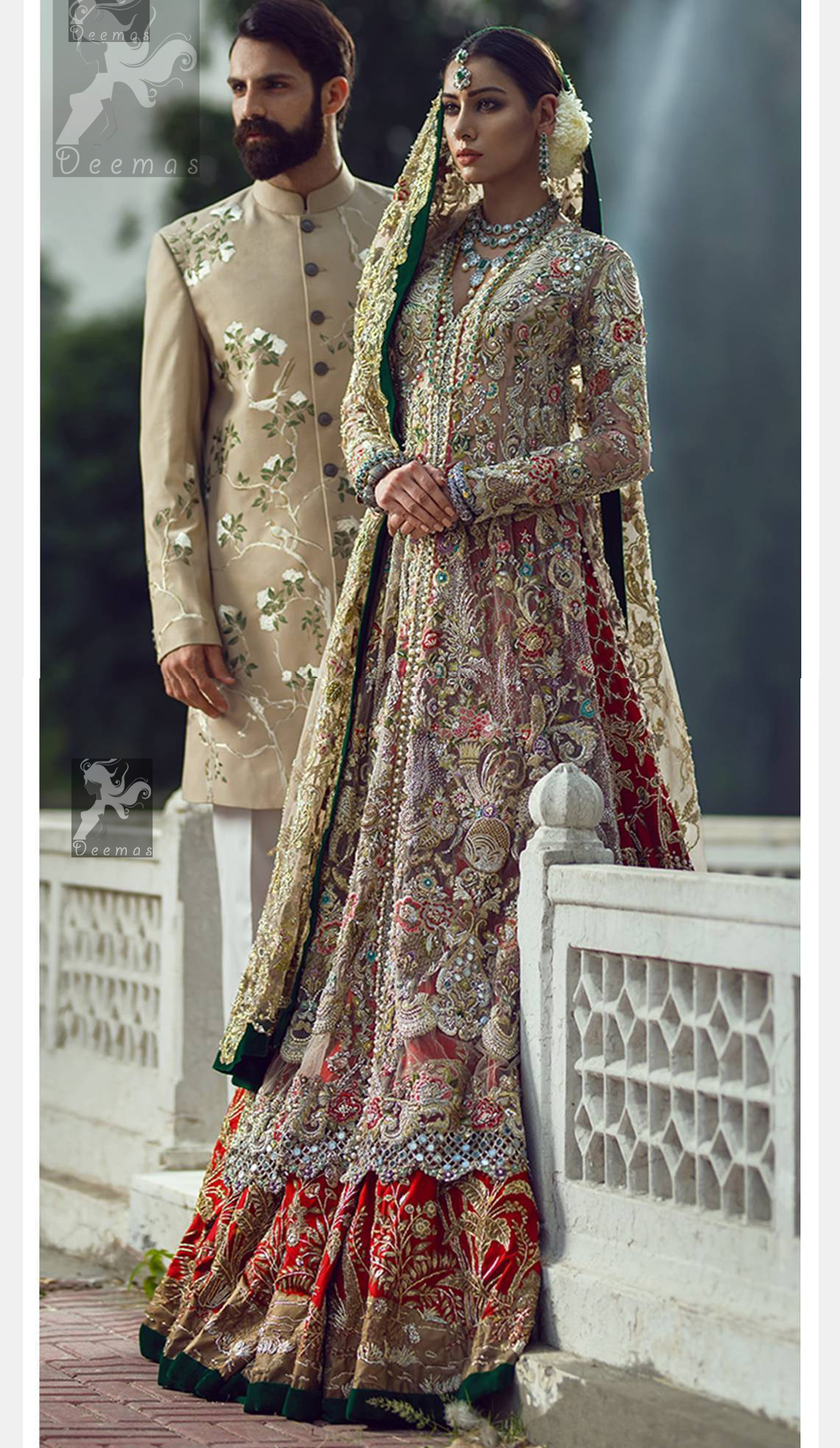 Light fawn pure crinkle chiffon front slits gown adorned with beautiful colorful embellishment. Red lehengha adorned with embellishment all over it. Light pistachio dupatta having embellished border on sides and motif spray all over it and finished with piping.