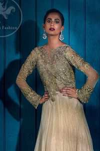 Ivory floor length Anarkali embellished with floral embroidery. Front and back bodice is fully embroidered with dull golden and antique shades of kora, dabka, tilla, pearls and sequins. There is beautiful cutwork and embroidery on sleeves cuffs and near the shoulders. Its hemline is allured with two delicate appliqued borders. One of them is of white pearls and the other one is of delicate embroidery.  This dress is artistically coordinated with simple ivory brocade lehengha and delicate tissue dupatta. Dupatta is adorned with cutwork and embroidery on pallu and there is small floral embellishment pattern on dupatta.