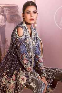 Oxford Blue Angrakha Style Short Frock Brocade Trousers
