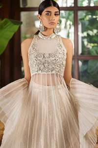 Clam Shell Long Frock Lehenga & Net Dupatta