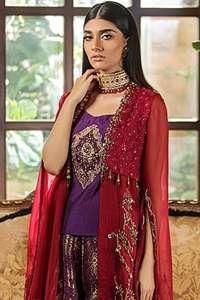Purple Short Shirt Sharara & Red Front Open Shirt Dupatta
