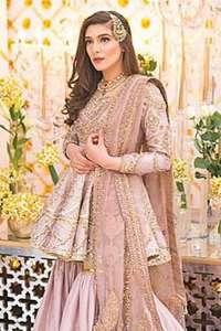 Tea Pink Short Frock Gharara Net Dupatta