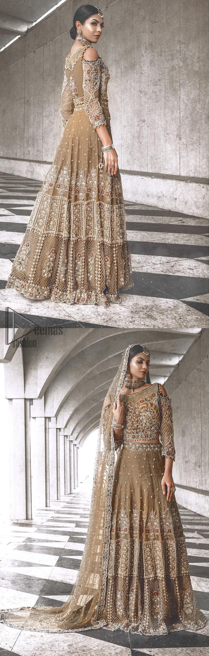 An example of beauty and elegance. Our bride makes a statement in this stunningly floraison, perfect blend of glamour and tradition with outstanding craftsmanship and gorgeous detailing. The cold shoulder blouse is stunningly embellished with intricate embroidered neckline done with light golden and silver zardosi work all over. Lehnga is compiled with zardozi embellishment which gives this festive season a flattering dimension to die for. The outfit is coordinated with beige net dupatta adorned with scattered sequins all over and four sided border.