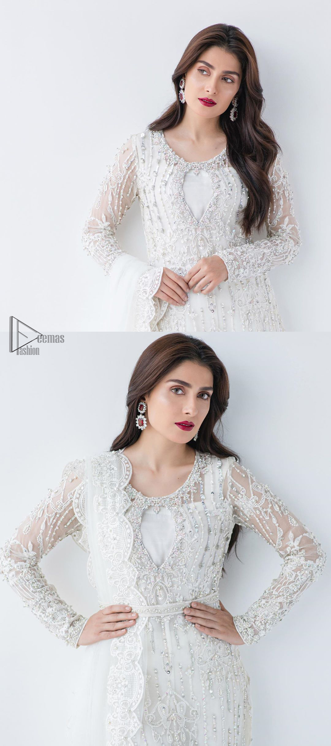 This is an ensemble that deserves to be flaunted. The ivory white shirt is an example of remarkable handiwork. With a lot of attention to detail, the intricate sequencing using glass beading and threads makes the shirt look like nothing but a dream. Furthermore the shirt is enhanced with thick embellished scalloped hemline.Sharara is magnificently decorated with scattered crystals all over. Beautifully paired it up with ivory white dupatta having four sided scalloped border.