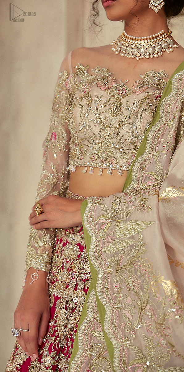 Crafted from the prettiest zardozi work. Paired it up with off white self-fabric dupatta having a four-sided embroidered border.