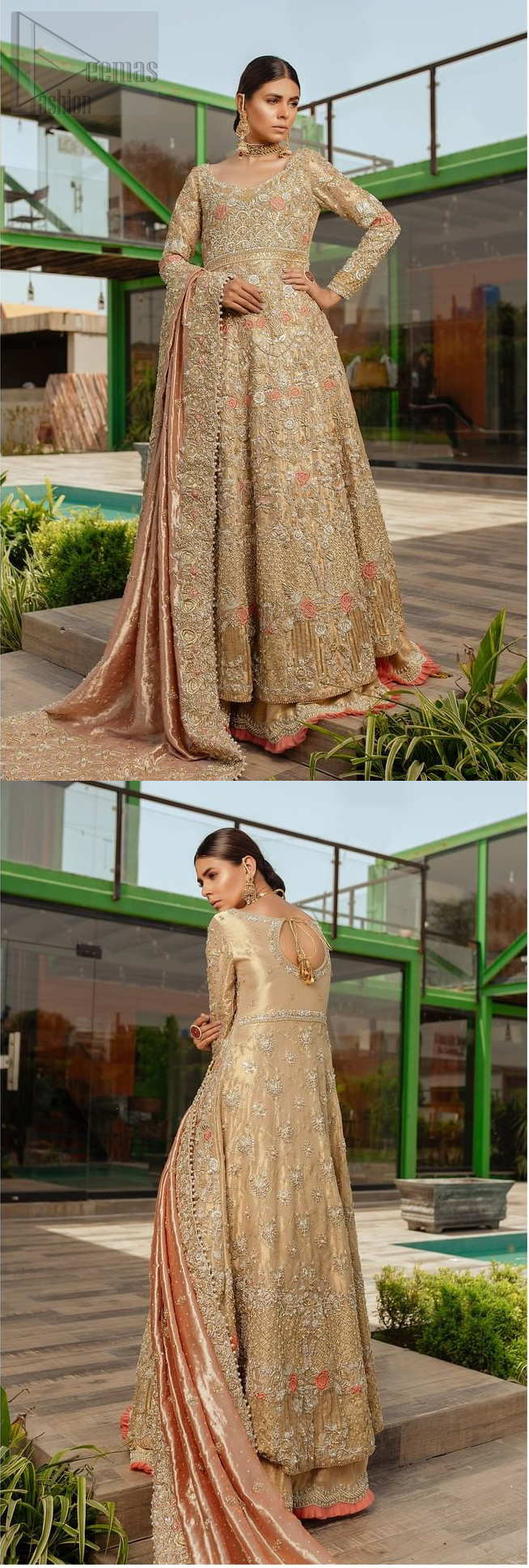 Nothing speaks of femininity and class louder than this outfits for bridesmaids. It is highlighted with golden and silver kora, dabka, tilla, sequins and pearls. The maxi is heavily ornamented with floral jaal done with zarozi work and floral motifs are decorated with peach and ivory thread embroidery. It comes with fawn lehenga adorned with scalloped embroidered bottom. Furthermore, lehenga is enhanced with peach frilled bottom. It is coordinated with peach dupatta which is sprinkled with sequins all over it. It is further furnished with four sided thick border.