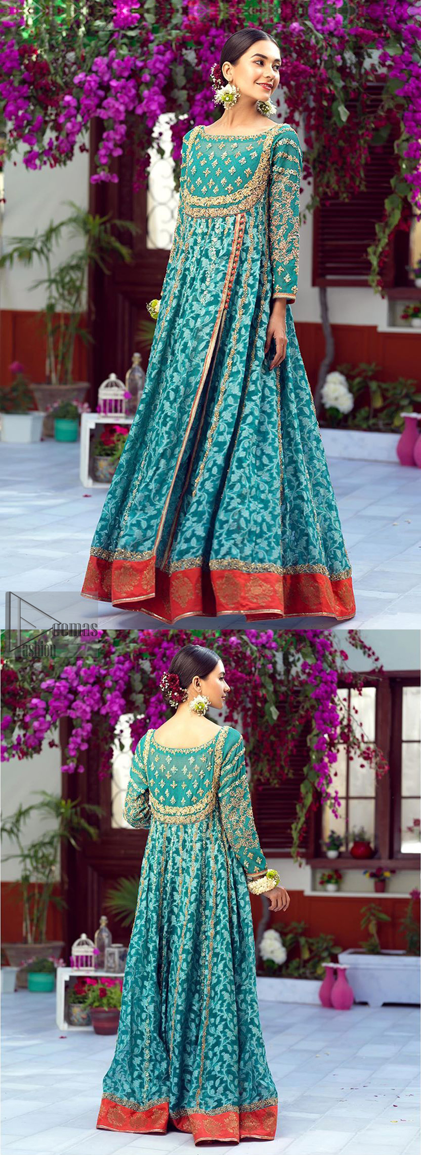 The perfect combination of tradition and class. With a lot of attention to detail, the intricate zardozi work with using glass beading and threads makes the bodice look like nothing but a dream. The tiny floral motifs are also scattered on the bodice. This mehndi outfit is ornamented with vertical embroidered lines and coral applique at the bottom. It comprises with sea green capri pants emphasized with embellished bottom and coral self fabric dupattta. You are all set to make a lasting impact with the divine royalty of this dress.