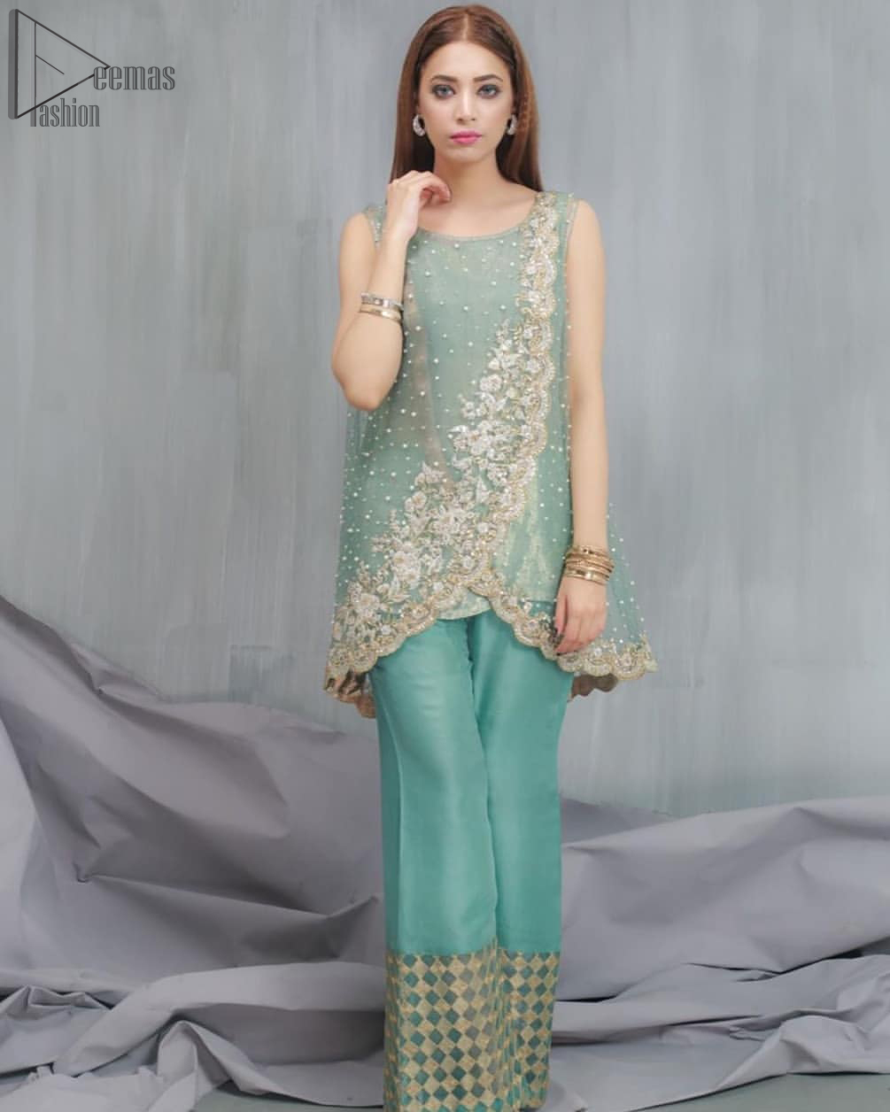 Sea Green Overlapped Pakistani Party Wear Shirt with Bell-Bottoms