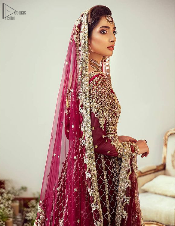 Maroon Floor Length Pakistani Reception Wear Pishwas with Bridal Dupatta and Churidar Pajama