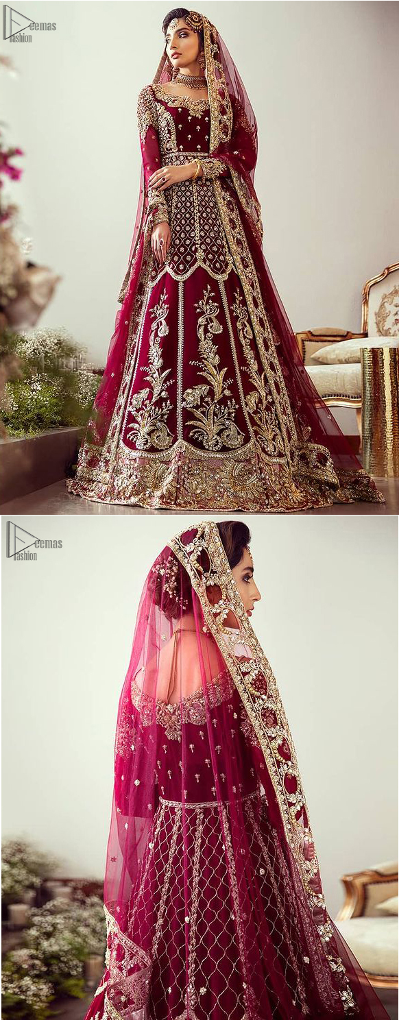 "Maroon Floor Length Pakistani Reception Wear Pishwas with Bridal Dupatta and Churidar Pajama. Did you recently say ""YES"" to the person of your dreams? Now it's time to stop searching for the perfect dress. Then hold your breath, as we reveal this masterpiece. A sensational affair so timeless and magnificent, beautifully crafted with light golden zardozi work. Craftmanship and skills you've never witnessed before. The pishwas is fully decorated with geometric patterns, floral bootis and tea rose embroidered appliqued bottom."