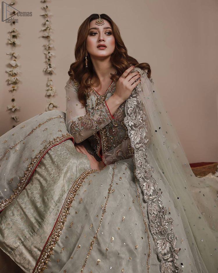 Mint Green Front Open Gown - Banarsi Lehenga