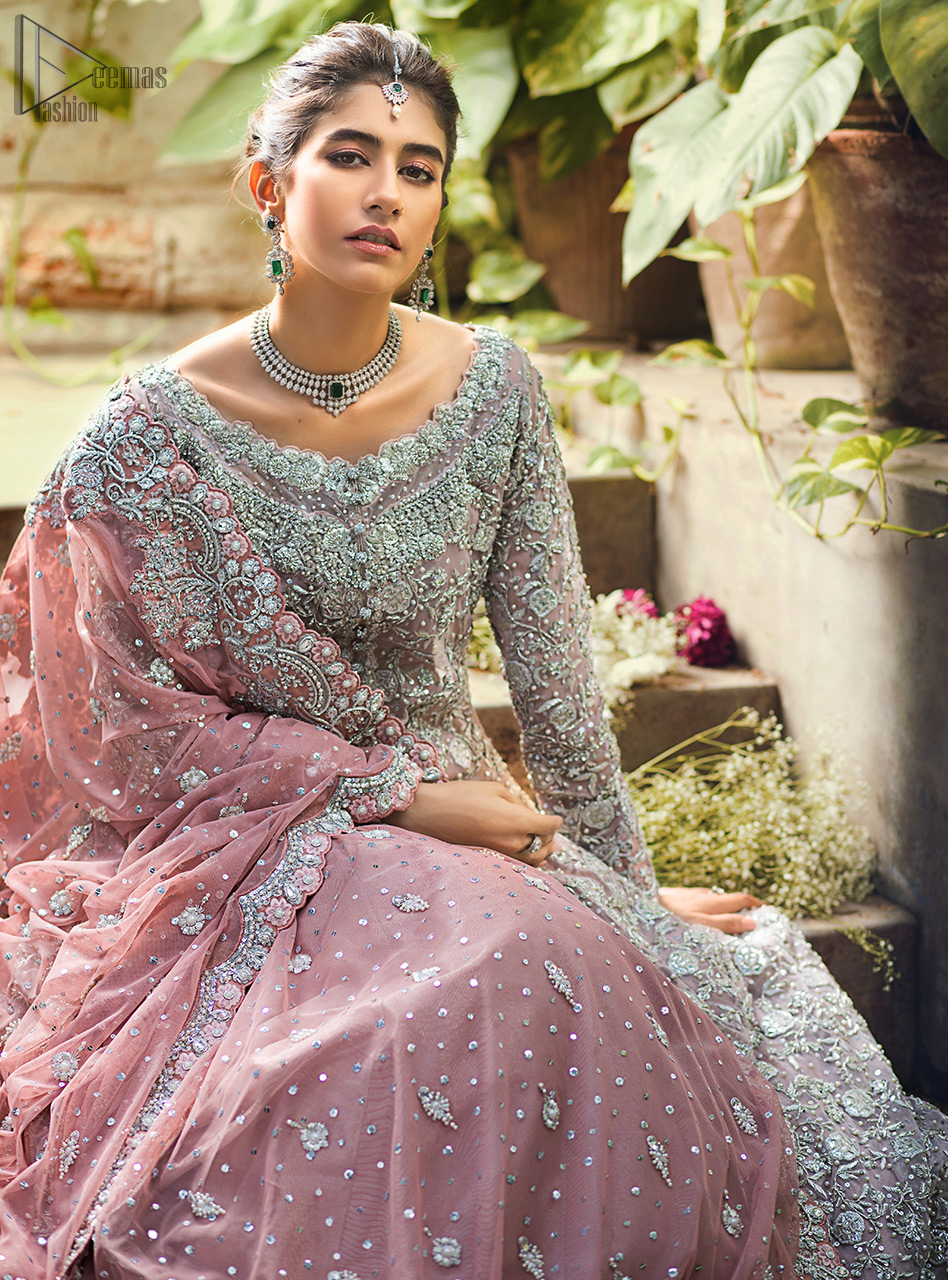 Pink Front Open Gown - Ruffled Sharara