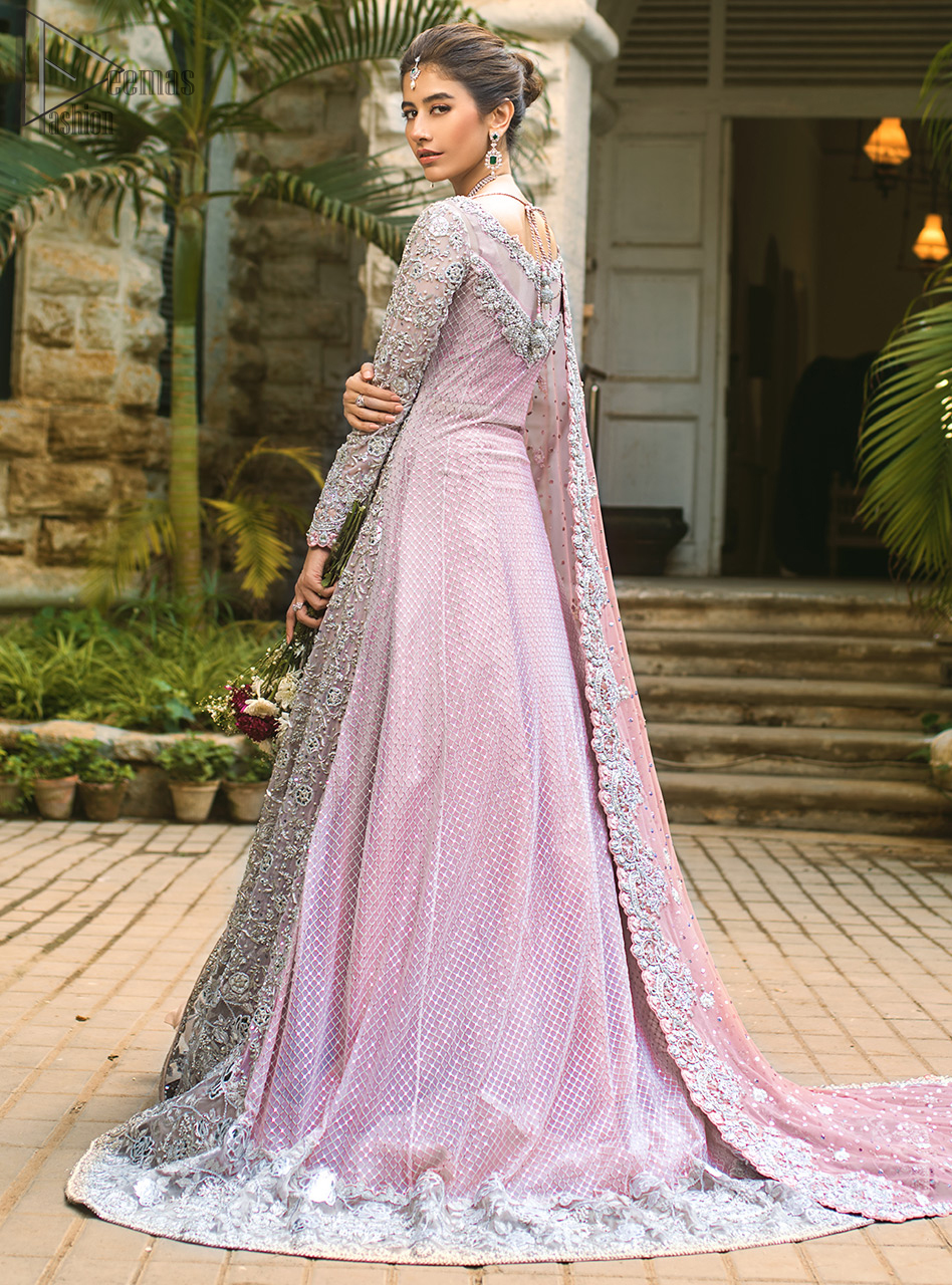 Pink Front Open Gown - Ruffled Sharara - The dupatta incorporates beautifully designed borders on all four sides, focusing on the heavily embellished pallu borders to give it a perfect maharani look.