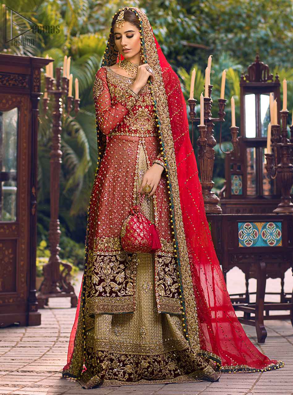 Latest Pakistani Wedding Wear - Red Back Train Front Open Gown - Golden Lehenga