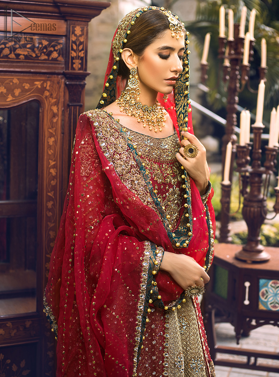 The lehenga with hand embroidery all over and finished with Velvet appliqued borders completes the look.
