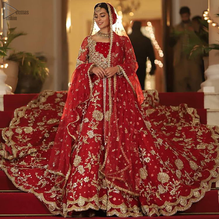Pakistani Bridal Wear - Red Front Open Back Train Maxi