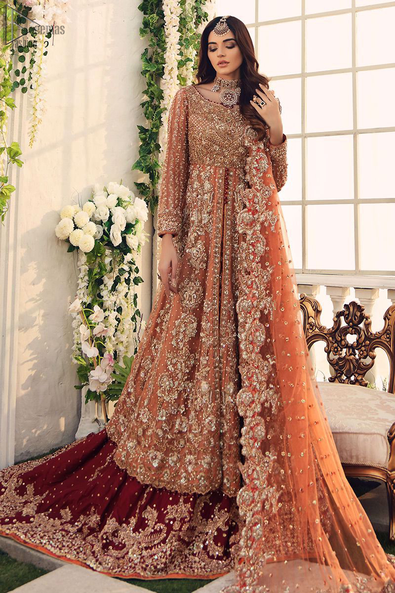 Salmon Front Open Gown - Maroon Back Train Lehenga