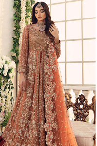 Salmon Gown Red Back Train Lehenga