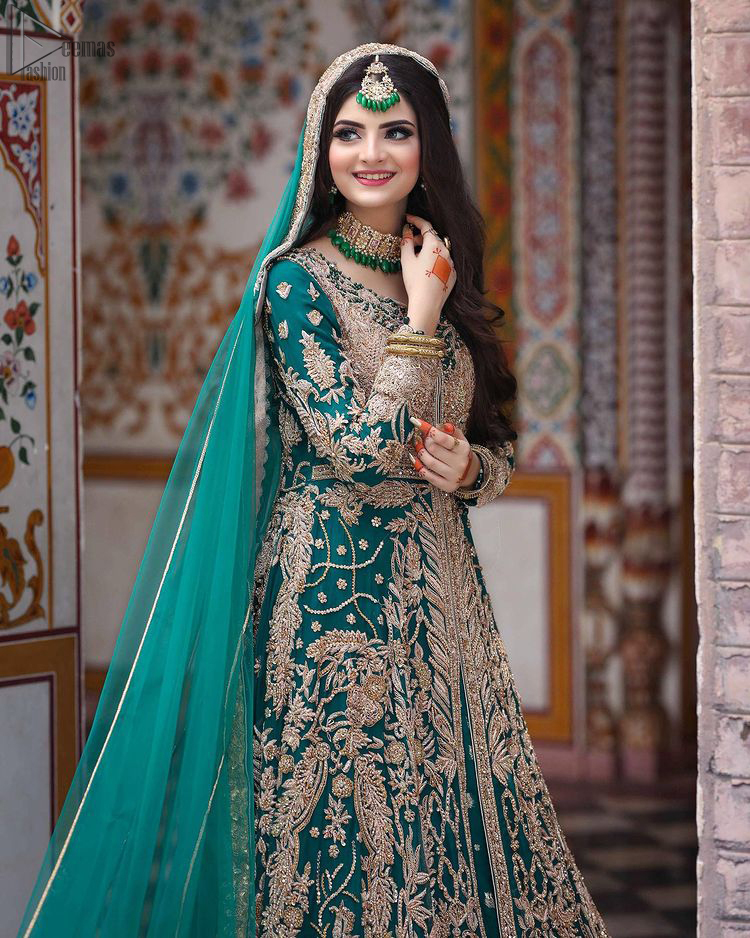 Sea Green Front Open Gown - Lehenga