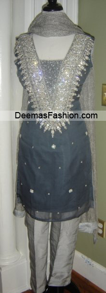 Latest Designers Formal Wear - Greyish Blue Silver Dress