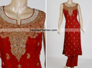 Latest Pakistani Formal Wear - Bright Red Dress