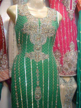 Latest Pakistani Bridal Collection- Shining Green Dress