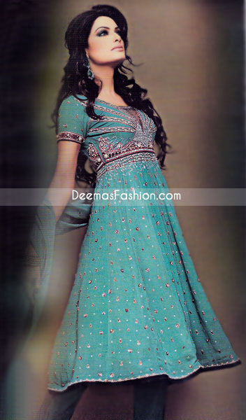 Aline Pure Chiffon Frock with Seagreen & Majenda Embroidered Top