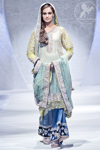 Aqua and Dark Blue Bridal Back Trail Shirt and Sharara