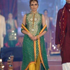 Latest Pakistani Fashion - Bottle Green Bridal Mehndi Wear Dress