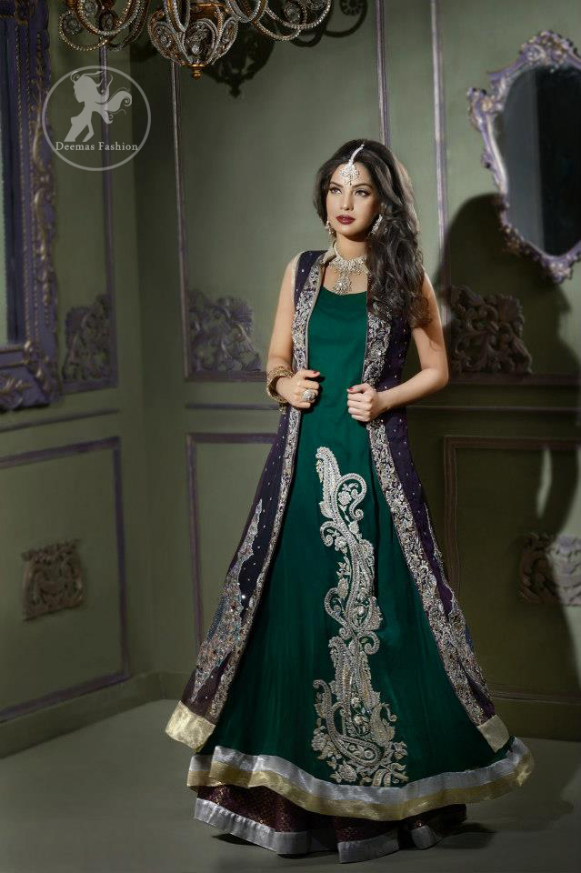 Bottle Green Front Open Gown Style Long Dress Latest