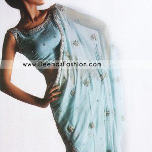 Bridal Wear Designers Dress – Sky Blue Embroidered Saree