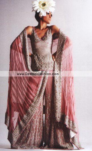 Bridal Wear Pakistani Gharara – Tea Pink Heavy Embroidered Dress